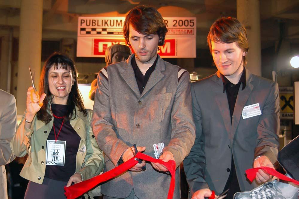 Nada Ray and Karlssonwilker design studio at Publikum Calendar 'Karlssonwilker VS Serbia' Launch event, Bezistan Square, Belgrade.
